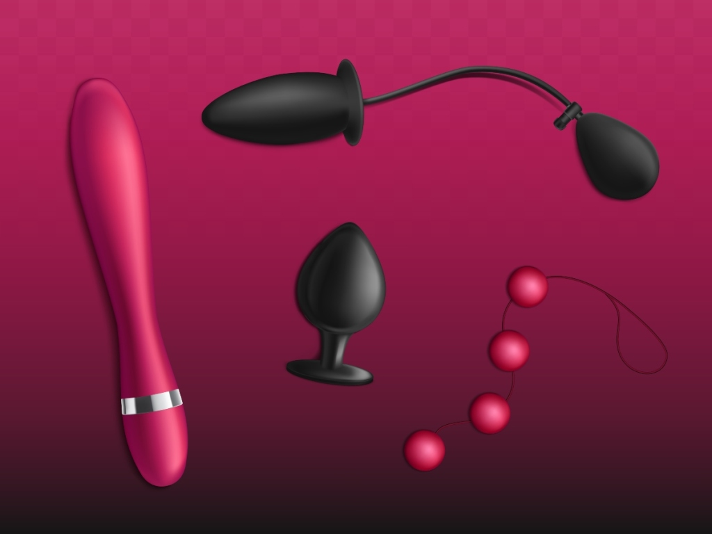 Magenta background with images of a pink vibrator, a black butt plug, pink anal beads, and a black inflatable butt plug