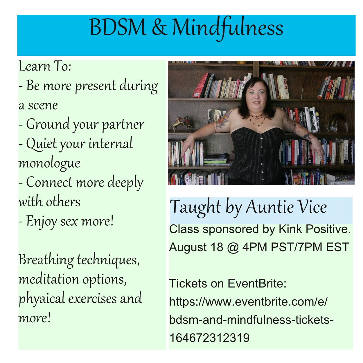Promotion for BDSM and Mindfulness class August 18
